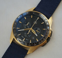 Mercedes Benz Gold Edition Chronograph Men`s Watch / Carbon Dial / Leather Strap