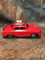 """Vintage Red Friction Tin Toy Limousine. """"drive Carefully Airport"""".japan 1960s"""