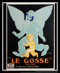 THE KID Charlie Chaplin On Linen 4x6 ft French Grande Movie Poster Original 1921
