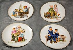 Norman Rockwell Series Lot Of 4 Vintage Plates Four Beloved Classics Japan 1984