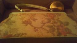 vintage tapestry handbag purse with compact