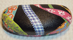 Sydney Love Black and Bright Colors Folk Art Ribbons Hard Glasses Case $11.49