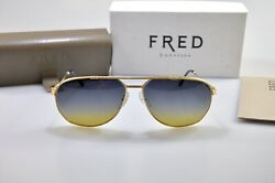 Vintage Fred AMERICA CUP Sunglasses Occhiali Brille Lunette Frame Glasses GOLD