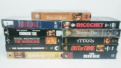 Lot Of 11 Vhs Tapes Movies Used Set Bundle Collection Denzel Washington Action