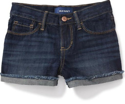 Old Navy Girls Rolled-Cuff Jean Cut-Off Shorts: Various Sizes Dark Wash NWT $20