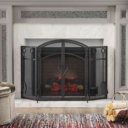 Rue Modern Iron Folding Fireplace Screen With Door And Tools