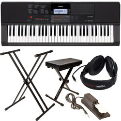 Casio Ct-x700 Portable Keyboard Bundle W Stand Bench Sustain Pedal Power Adapter