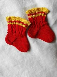 Antique Pattern Socks Xs Size Red/ Yellow Color For Antique French German Doll