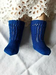 Antique Pattern Socks Blue Color For Antique Or Repro French German Doll