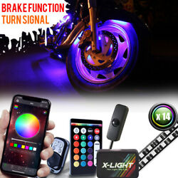 14pc Motorcycle Led Under Glow Light Kit Multi-color Neon Strip /turn Signal