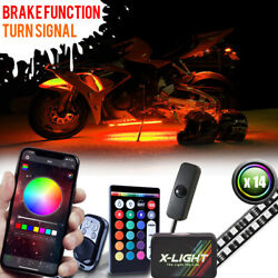 14pc Motorcycle Led Under Glow Light Kit Multi-color Neon Strip W/turn Signal