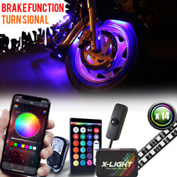 14 Led Remote And Phone Control Motorcycle Motor Wheel Underbody Accent Light Kit