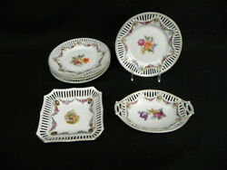 6 Pc. Schumann Dresden Flowers Bavaria Reticulated Porcelain Plates And Dishes