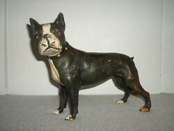 Vintage SKOOG Heavy Cast Iron Boston Terrier Dog Doorstop ~ Karl Frederick Skoog