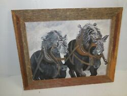 Oil Painting Horse And Plow Disc With Note On Back Leroy Dammon 19x15 Iowa Farm