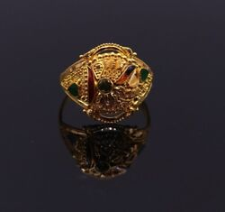 22 K Yellow Gold Handmade Vintage Style Ring Band Traditional Filigree Work