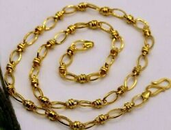 Authentic 22k Gold Antique Design Link Chain Necklace Awesome Jewelry Gift Ch189