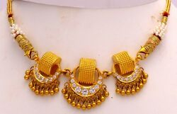 Indian Vintage Antique Traditional 22 K Gold Necklace Pendant Jewelry Rare