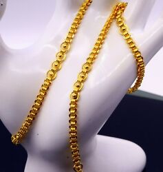 22 K Yellow Gold Round Pipe Link Unique Design New Modern Stylish Chain Necklace