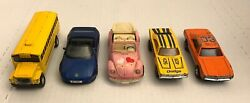 5pc Lot Mc Toys Vintage Mixed Lot Of 5 Pull Back Vehicles Charger Lotus Vw Bug