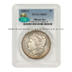 KEY DATE OF THE SERIES 1884-S $1 Silver Morgan Dollar PCGS MS67 CAC Illinois Set