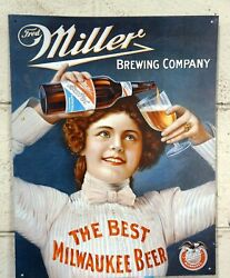 Fred Miller Brewing Company Tin Sign Buffet Girl The Best Milwaukee Beer Vintage