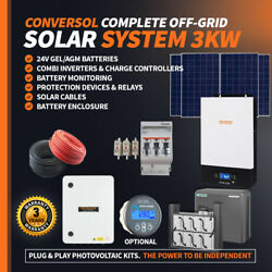 3kw Off Grid Solar Kit Inverter Charger 330w Solar Panels Cables Batteries