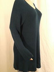 Styleco Women Sweater NEW Tunic Size L Rustic teal Long sleeve Cotton acrylic S3 $12.99