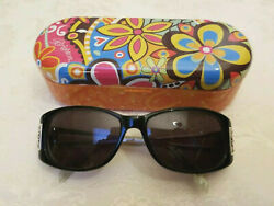 Brighton Designer Sunglasses & Case Handmade Windom Black Silver Rectangle Oval