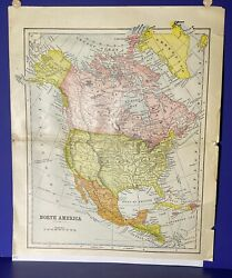 Original 1890 Antique 127-yr-old Engraved Map North America United States Us