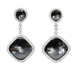43.32ct Black And 5.10ct White Diamond Hanging Drop Eararings In 18k White Gold