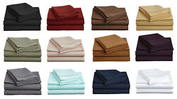 Bed 6pc Hotel Sheet Set Extra Soft Deep Pktcolor Solid And Sizes 600 Tc Egycotton