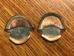 Pair Lincoln Cent Mint Error Mushroomed Looking Up To Heaven And Down Hell