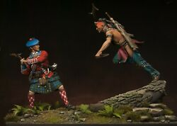 Painted Figures Melee Scotsman Vs Iroquois Collection In America Diorama 75mm