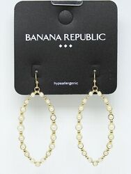 New Gold Drop Earrings with Simulated Pearls by Banana Republic #BRE39 $6.49
