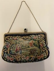 Vintage Women's Beaded Tapestry Purse Evening Hand Bag Clutch Lot Of 5