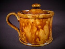 Extremely Rare 1800s American Mustard Pot Rockingham Spatter Glaze Yellow Ware