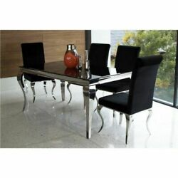 Polished Metal And Black Glass Dining Table And 6 Black Velvet Chairs L200cm Liberty