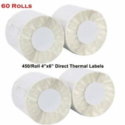 60 Rolls 450/roll 4x6 Direct Thermal Shipping Labels - Zebra Eltron Zp450 Lp2844