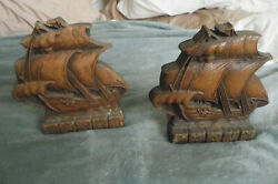 Vintage Bookends Clipper Ship Ornawood Syroco Brown Wood Color 6 Tall Usa