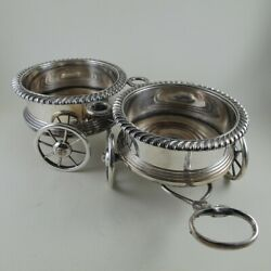 19c Sc Younge And Co Old Sheffield Silverplate Double Wine Coaster Trolley Wagon