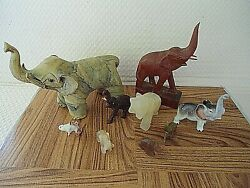Elephant Figurine Collection 9 Good Luck Trunks Up Unique Stone Wood Brass