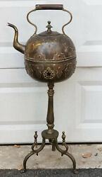 Antique Turkish Middle Eastern Hand Hammered Chased Brass Tea Kettle On Stand
