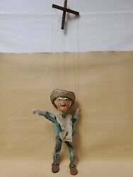 Vintage Antique Marionette String Puppet Handmade With Sombrero Mexican