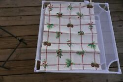Sur La Table Nwt Made In Italy Holly/pine Cone Grid Linen Kitchen Towel 20x28