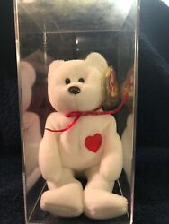 Valentino Ty Beanie Baby Bear/ Brown Nose/ Tag Errors/ Pvc Pellets/ Rare/ Mint