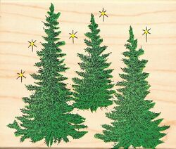 Hero Arts Three Pine Trees Wood Mounted Rubber Stamp Holiday Season Winter