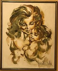 Hyacinthe Kuller Baron Original Mother And Child Oil On Canvas