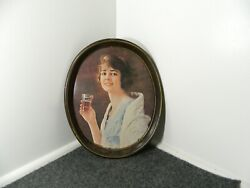 Coca Cola Oval Platter Serving Tray Girl Coke Drinking Vintage 70's Repro