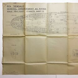 Wwii Classified 1943 Rfa Dewdale Lsg British Blueprint Operation Torch Relic
